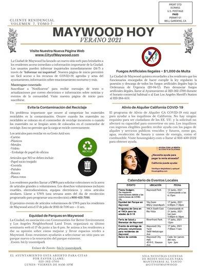 CITY OF MAYWOOD NEWSLETTER SUMMER 2021 SPA